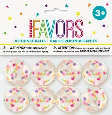 8CT MULTI COLOR DOTS BOUNCE BALL FAVORS