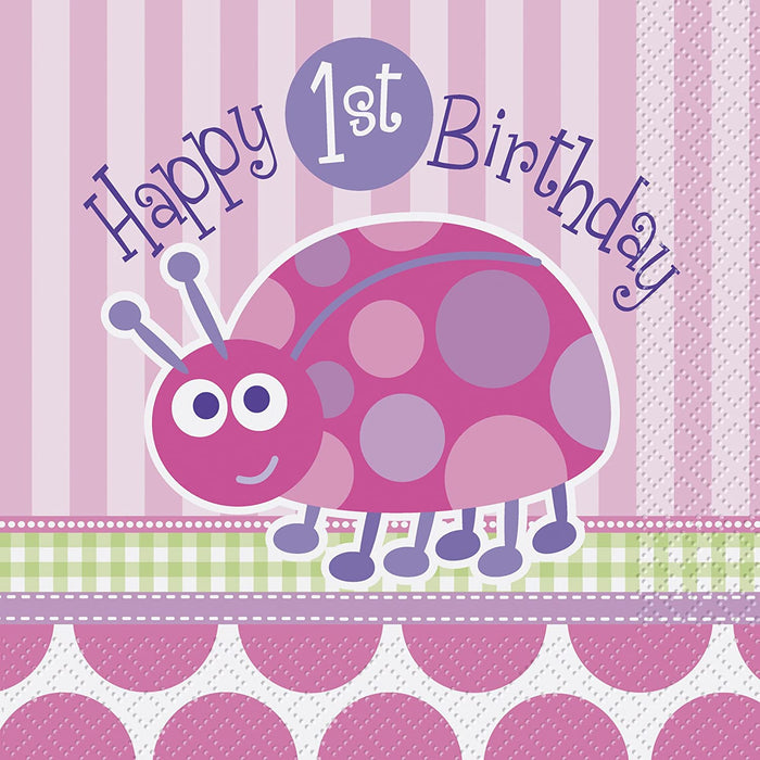 FIRST BIRTHDAY LADYBUG LUNCH NAPKINS 16CT