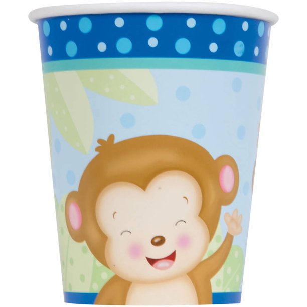 9OZ BLUE MONKEY BABY SHOWER CUPS 8CT