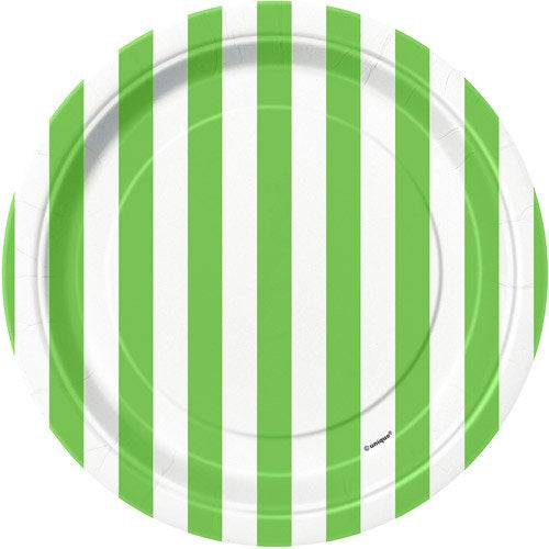 "7"" LIME GREEN STRIPE DESSERT PLATES 8CT"