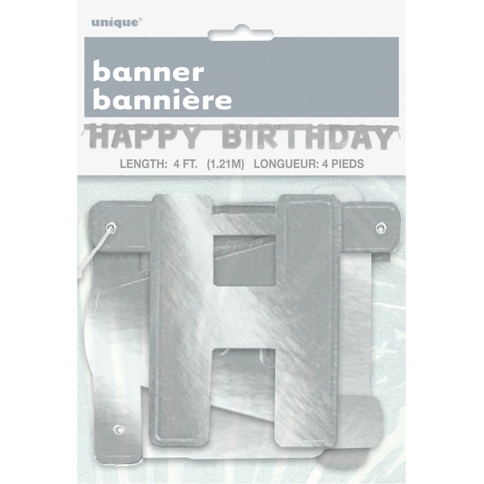 SILVER HAPPY BIRTHDAY LETTER BANNER 4FT