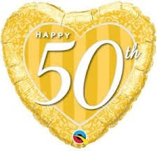 "18"" HAPPY 50TH GOLD FOIL BALLOON"