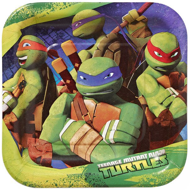"7"" TEENAGE NINJA TURTLES SQUARE PLATES 8CT"