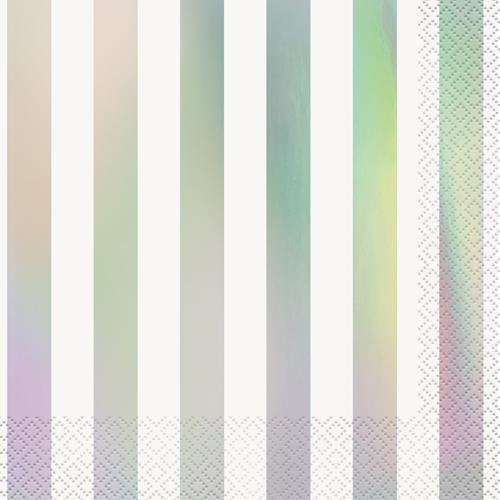 IRIDESCENT STRIPES LUNCH NAPKINS 16CT
