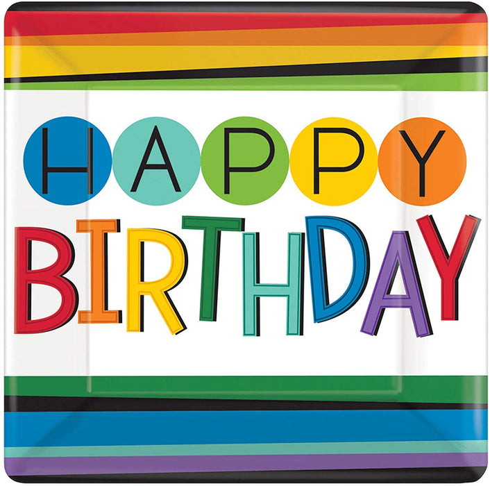 "10""  RAINBOW BIRTHDAY LUNCH PLATES 8CT"