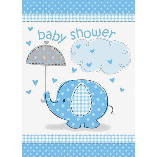 BLUE ELEPHANTS BABY SHOWER INVITATIONS 8CT