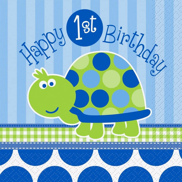 FIRST BIRTHDAY TURTLE LUNCH NAPKINS 16CT