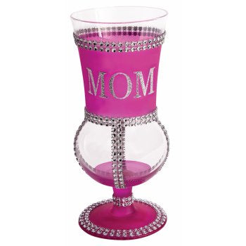 """MOM"" PINK GLASS GOBLET"