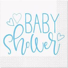 BLUE HEARTS BABY SHOWER LUNCH NAPKINS 16CT