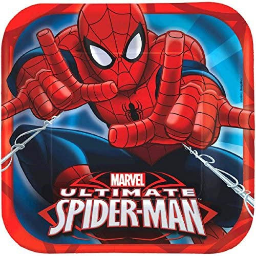 "9"" SQUARE SPIDERMAN LUNCH PLATES"