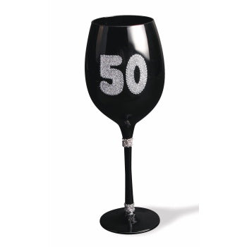 """50"" BLACK WINE GLASS"