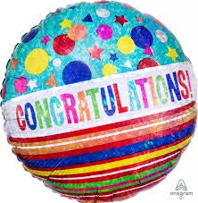 "18"" HOLOGRAPHIC CONGRATULATIONS FOIL BALLOON"