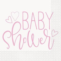 PINK HEARTS BABY SHOWER LUNCH NAPKIN 16CT