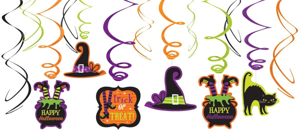 WITCH CREW SWIRL DECORATIONS 12PCS