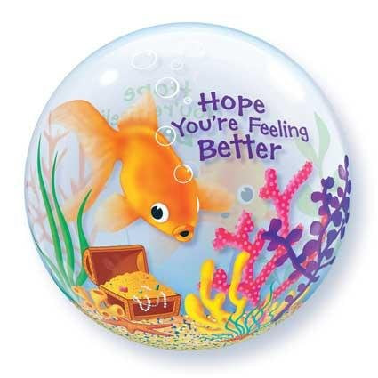 "22"" HOPE YOU'RE FEELING BETTER FISH BUBBLE BALLOON"