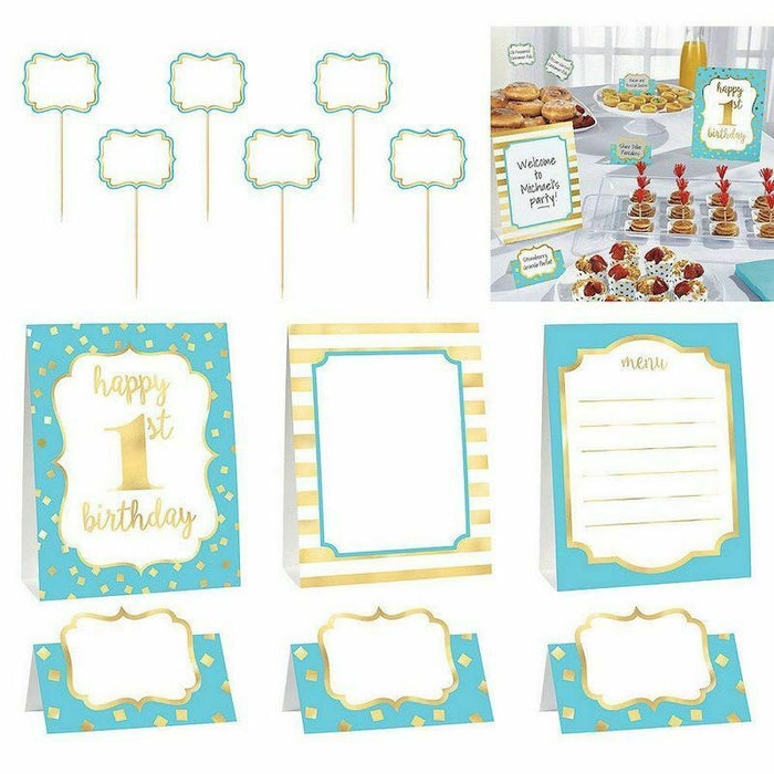 GOLD FIRST BIRTHDAY BOY BUFFET DECORATING KIT