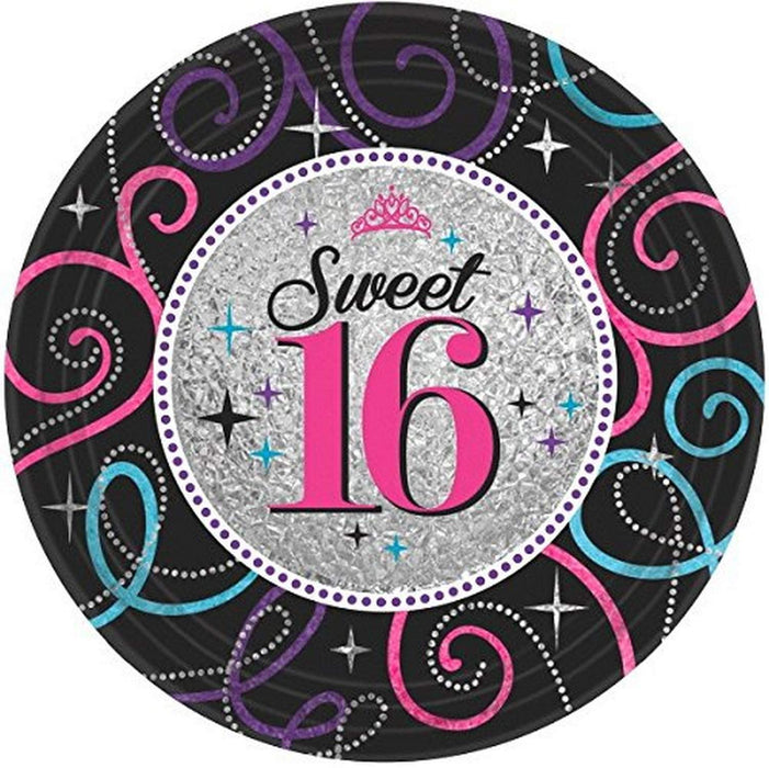 "7"" SWEET SIXTEEN CELEBRATION DESSERT PLATES 8CT"