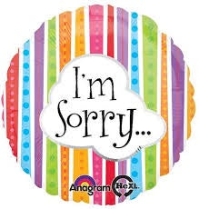 "18"" I'M SORRY COLORFUL LINES FOIL BALLOON"