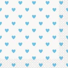 BLUE HEARTS BABY SHOWER BEVERAGE NAPKINS 16CT