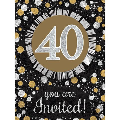 40TH SPARKLING CELEBRATION INVITATIONS 8CT