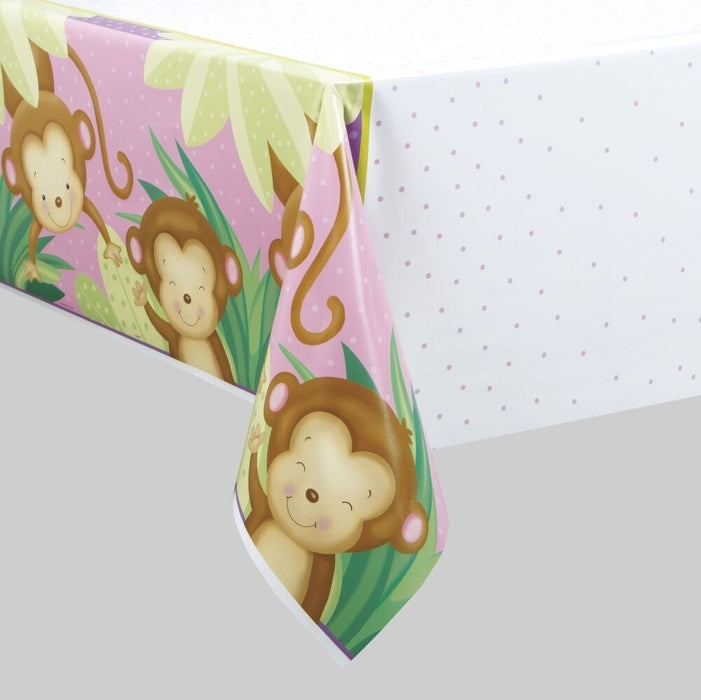 PINK MONKEY BABY SHOWER PLASTIC TABLECOVER