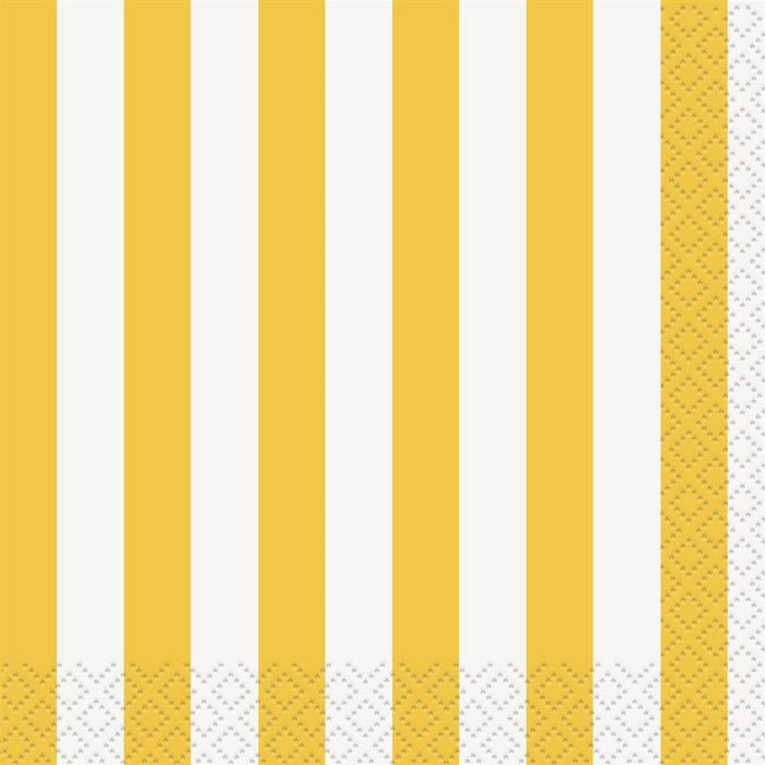 YELLOW STRIPE BEVERAGE NAPKINS 16CT