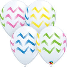 "11"" COLORFUL CHEVRON STRIPES WHITE LATEX BALLOON"