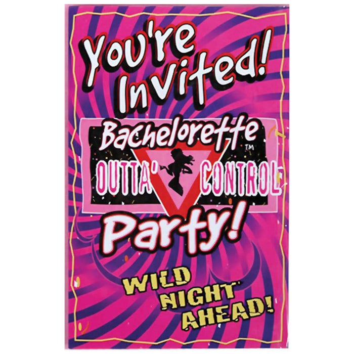 BACHELORETTE OUTTA CONTROL  INVITATIONS 6CT