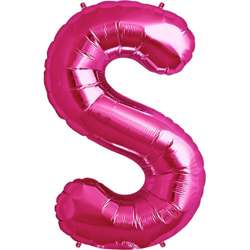 "34"" PINK LETTER ""S"" FOIL BALLOON"