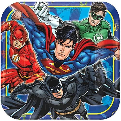 "9""  JUSTICE LEAGUE SQUARE LUNCH PLATES 8CT"