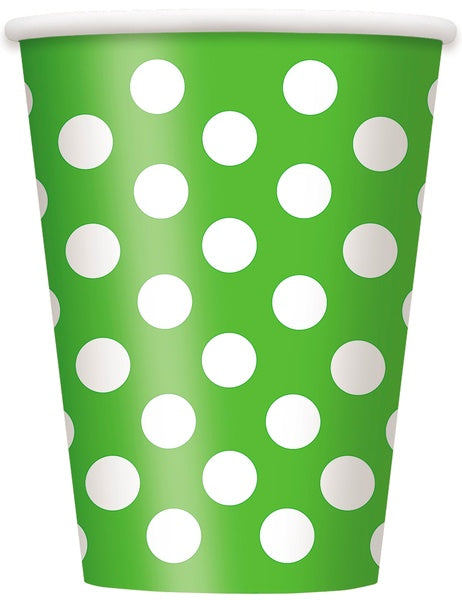 12OZ LIME GREEN POLKA DOTS PAPER CUPS 6CT