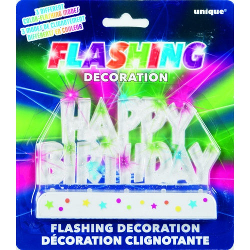 "CLEAR ""HAPPY BIRTHDAY"" FLASHING CAKE DECORATION"