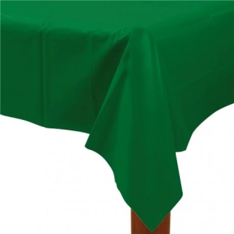FESTIVE GREEN PLASTIC RECTANGULAR TABLECOVER
