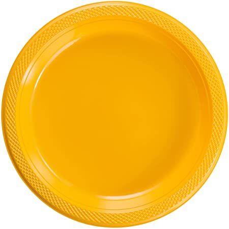 "7"" SUNSHINE YELLOW PLASTIC DESSERT PLATES 20CT"