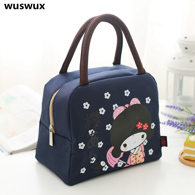 Cartoon Print Insulated Canvas Lunch Bag