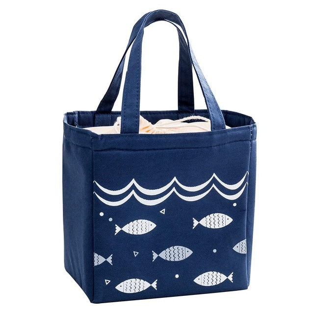 Fish Design Insulated Thermal Canvas Lunch Bag