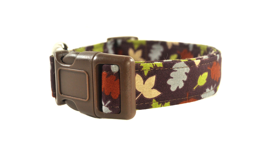 Fall Leaves in Brown Dog Collar