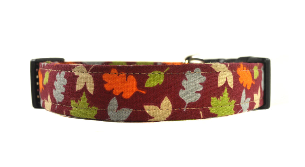 Fall Leaves in Orange Dog Collar
