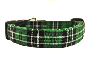 Green and Black Plaid Dog Collar