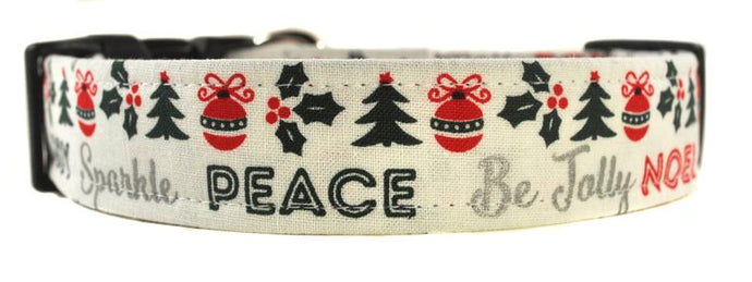Peace and Be Jolly Dog Collar
