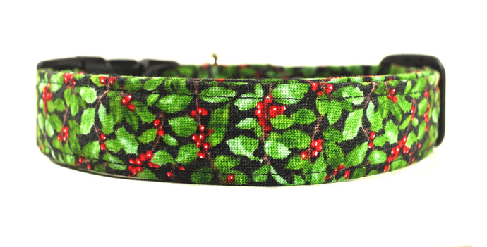 Poinsettia in Green Dog Collar