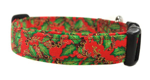 Poinsettia Leaves Dog Collar