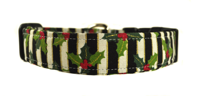 Poinsettia Stripe Dog Collar