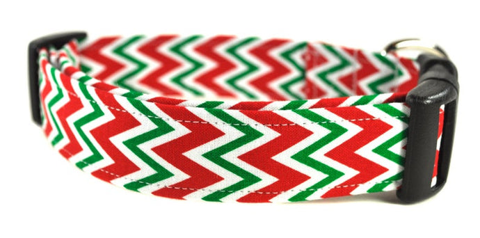 Red and Green Chevron Dog Collar