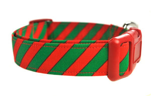 Red and Green Stripe Chevron Dog Collar