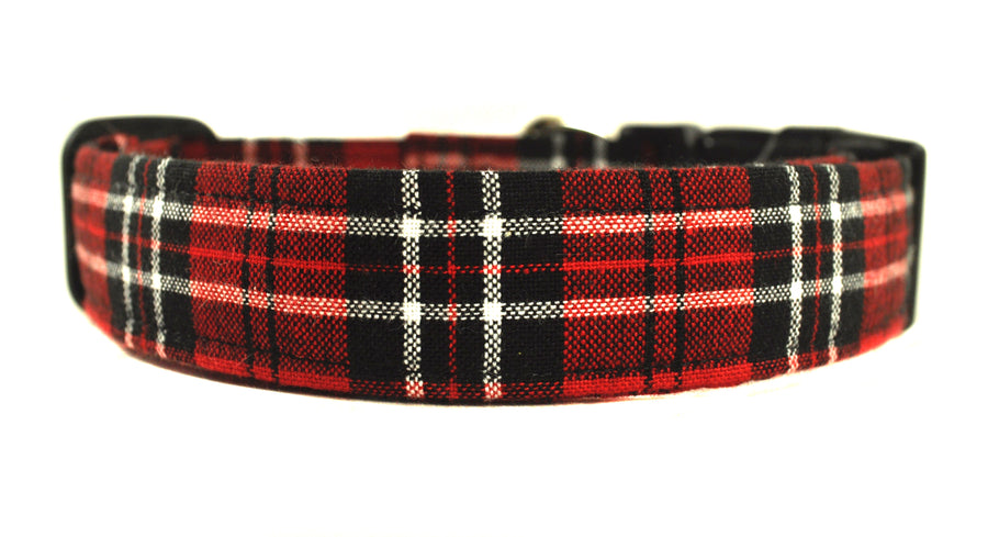Red and Black Plaid Dog Collar