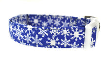 Load image into Gallery viewer, Snowflakes in Blue Dog Collar