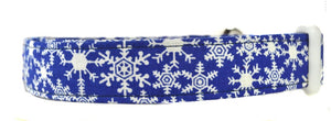 Snowflakes in Blue Dog Collar