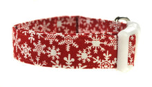Load image into Gallery viewer, Snowflakes in Red Dog Collar