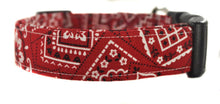 Load image into Gallery viewer, Red and White Bandana Dog Collar - Collars by Design